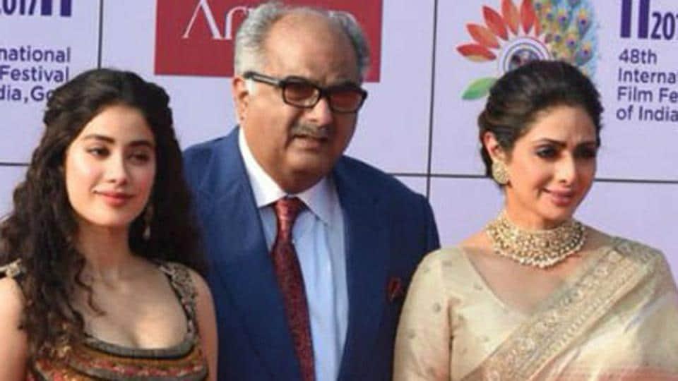 Sridevi With Husband Boney Kapoor And Daughter Janhvi Kapoor