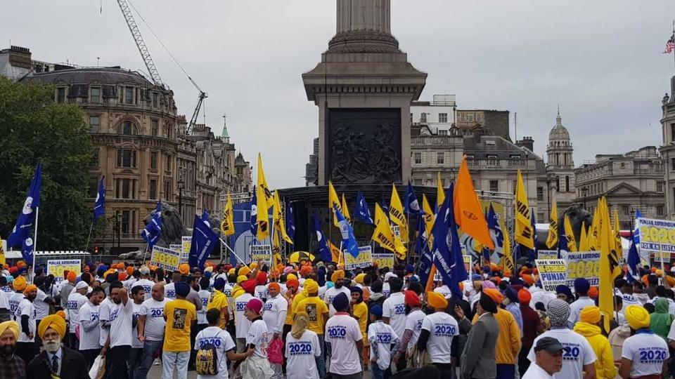 """More than 2,500 pro-Khalistan supporters gathered to issue what the organiser, US-based Sikhs for Justice, called a """"London declaration"""" to hold the """"referendum"""" in 2020."""