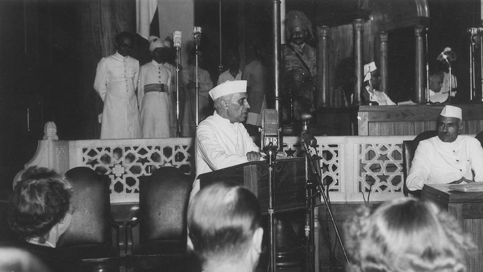 Pandit Jawaharlal Nehru addressing the midnight session of the Constituent Assembly of India on August 15, 1947.