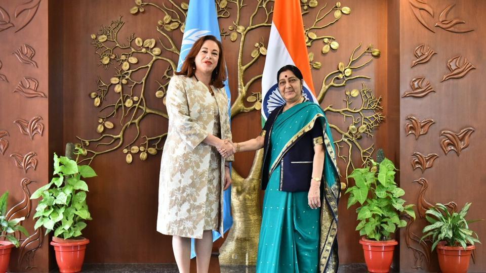 Sushma Swaraj,UN General Assembly president-elect,Maria Fernanda Espinosa Garces