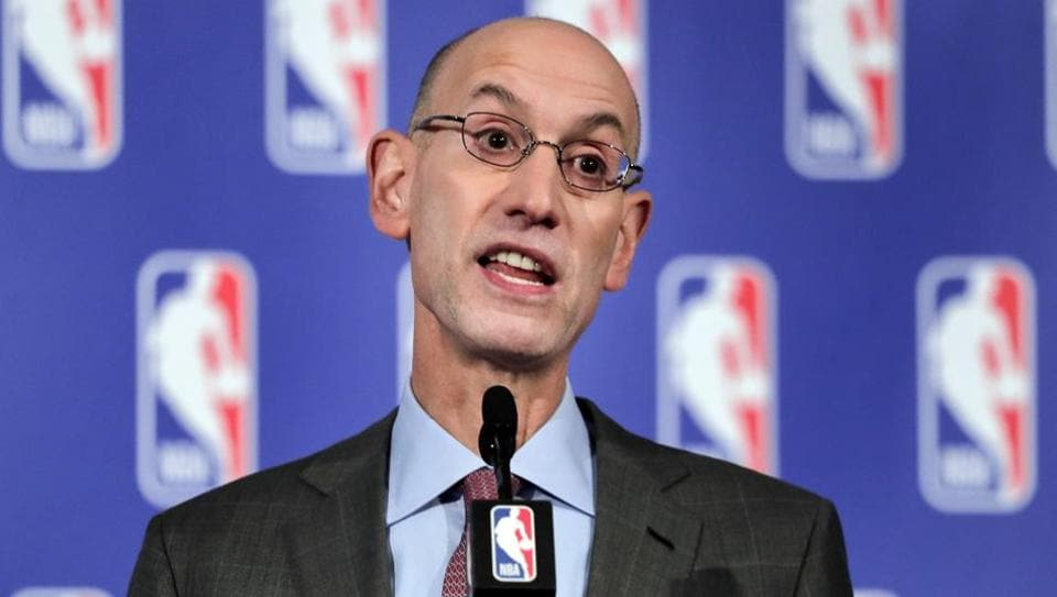 In this September 28, 2017 file photo, NBA Commissioner Adam Silver speaks during a news conference in New York.