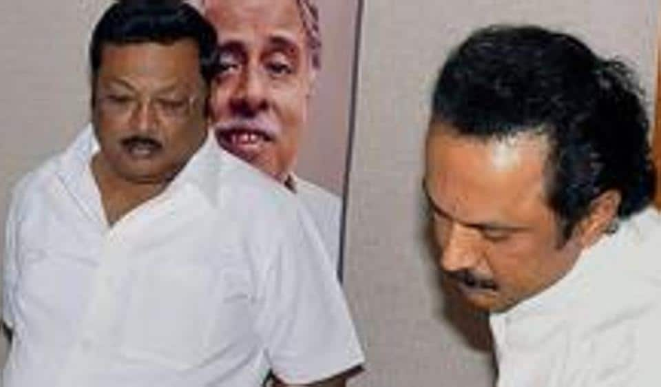 Former Tamil Nadu Chief Minister M Karunanidhi with his sons MK Stalin and MK Azhagiri.  On August 14, MK Stalin will likely ascend to the post of Thalaivar or President of the DMK.