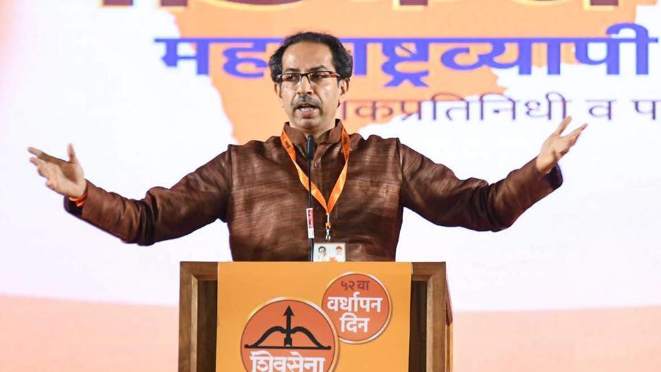 Shiv Sena chief Uddhav Thackeray addresses the party workers in Mumbai on June 19.
