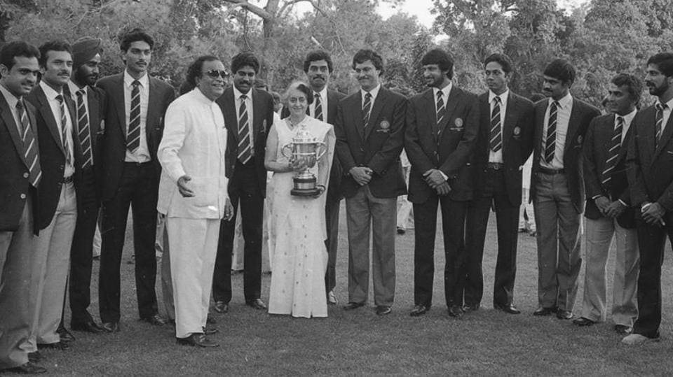 The Indian Cricket Team arrives for a reception by Prime Minister Indira Gandhi upon their victorious return from the 1983 Prudential Cup finals. India, under the captaincy of Kapil Dev played West Indies at Lord's Cricket Ground in England in their first ever finals appearance, returning home with the country's first World Cup. (KK Chawla / HT Archive)