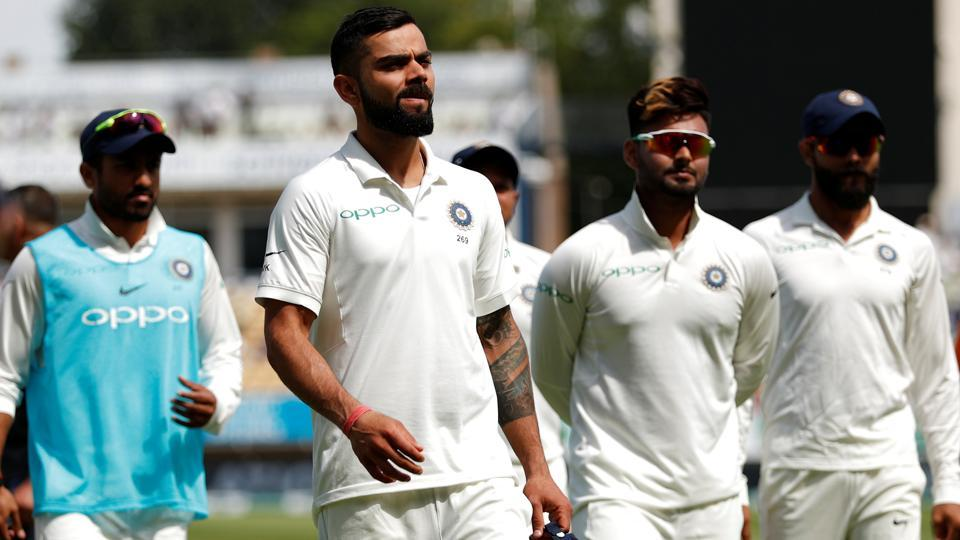 Virat Kohli reacts at the end of the second Test match between India and England at Lord's.