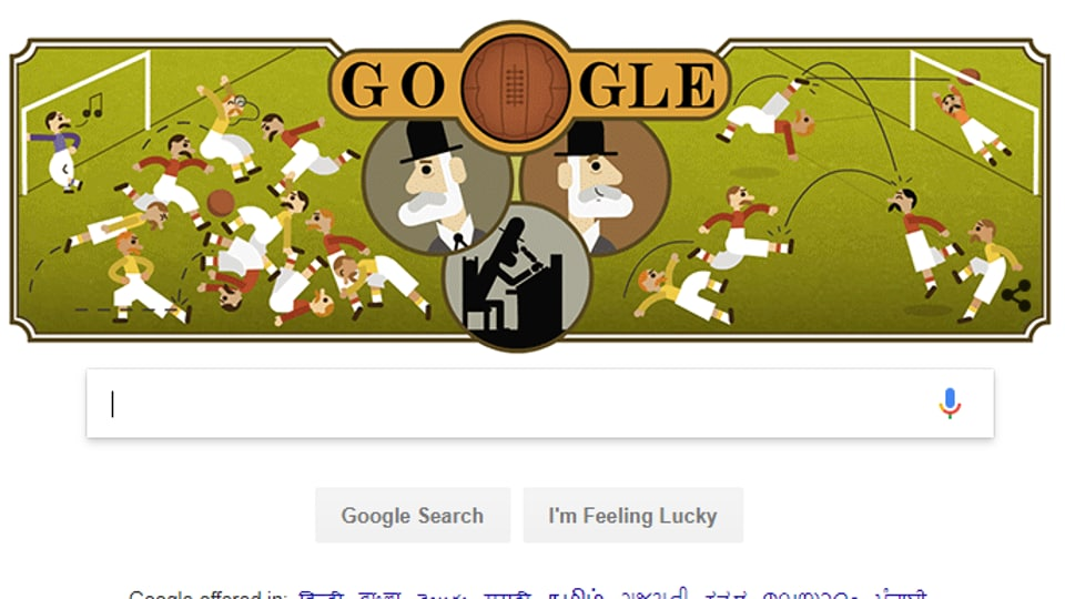 Google doodle celebrates the 187th birthday of Ebenezer Cobb Morley, father of the Football Association.