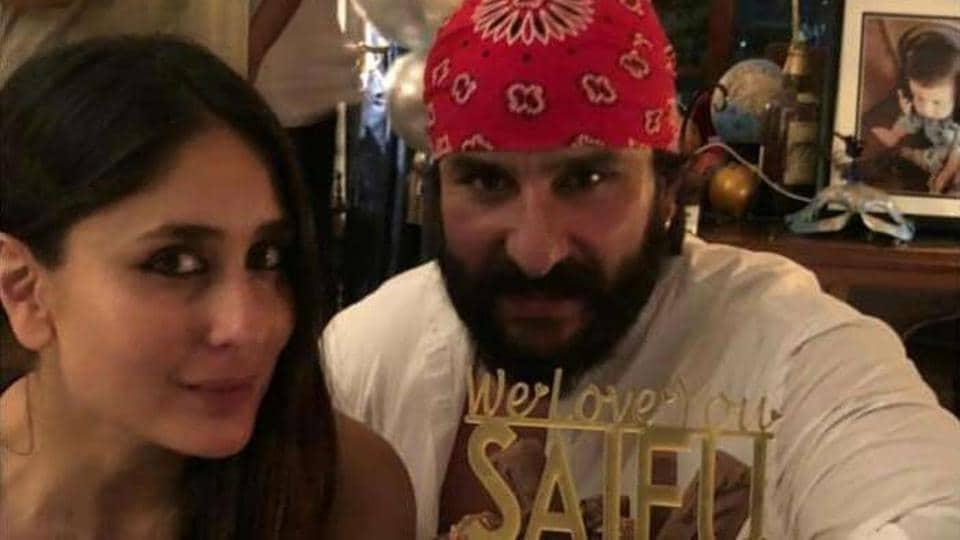Saif Ali Khan with Kareena Kapoor at his birthday party.