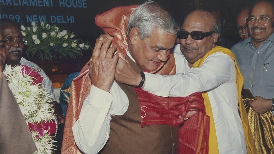 M Karunanidhi felicitates Atal Bihari Vajpayee, after he was elected the Leader of NDA at Central Hall of Parliament House on October 9, 1999 in New Delhi.  (HT Archive)
