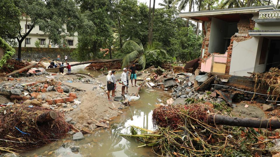 Houses destroyed by flood waters at Kannappankundu in Kozhikode, Kerala.