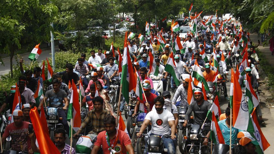 Hundreds of bikers participated in the Yuva Vishal Tiranga Yatra as part of the Independence Day celebration at Nirvana Country, Sector 50, in Gurugram, India, on Wednesday, August 15, 2018.