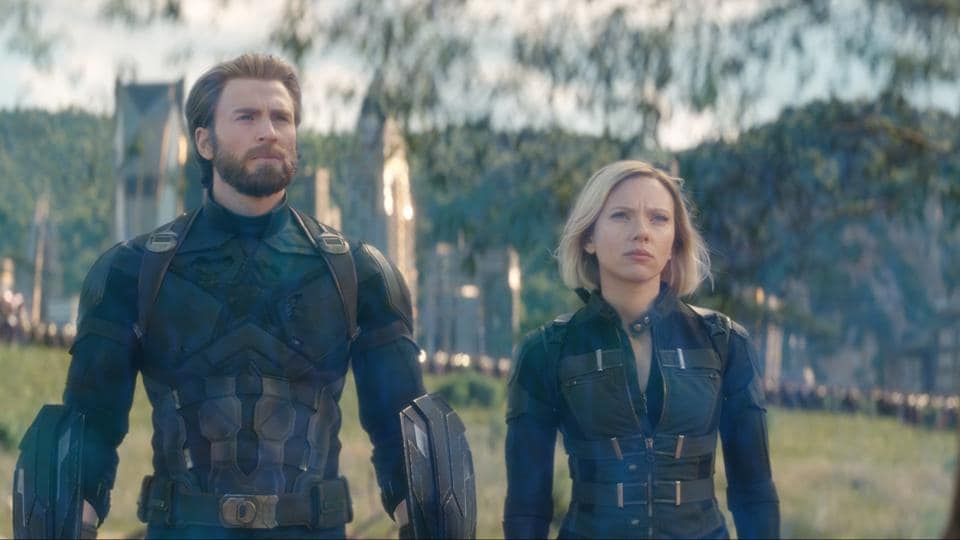 Captain America/Steve Rogers (Chris Evans) and Black Widow/Natasha Romanoff (Scarlett Johansson) in a still from Marvel's Avengers: Infinity War.