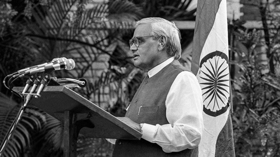 In this May 11, 1998, file photo former prime minister Atal Bihari Vajpayee announces India's nuclear test, in New Delhi.