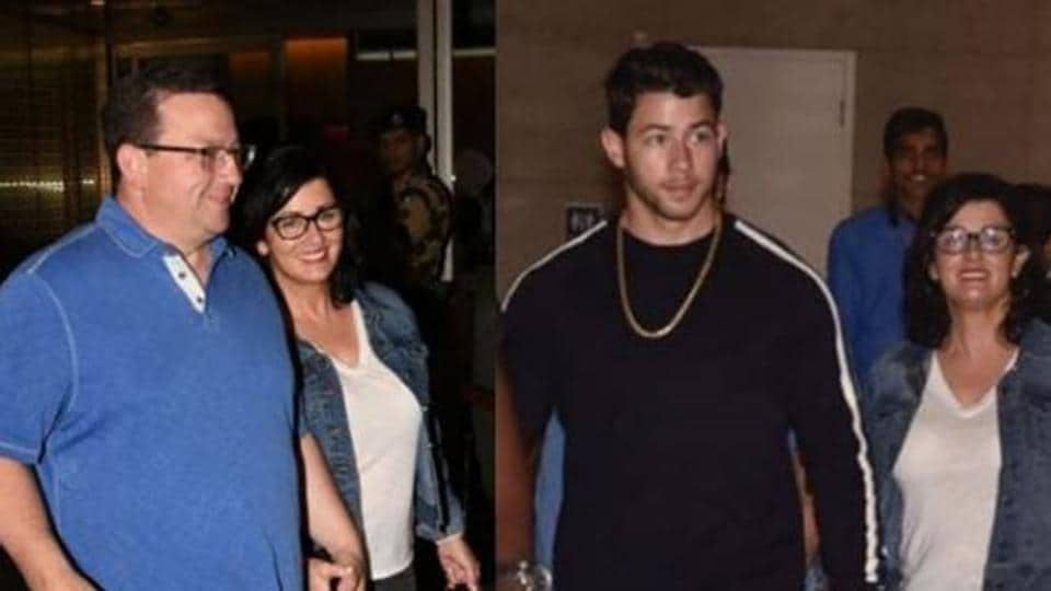 Nick Jonas is in India with parents and fiancee Priyanka Chopra reached airport to receive them.