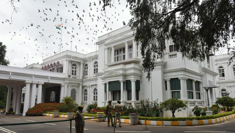 The official residence building of the Karnataka Governor in Bengaluru. The Raj Bhavan is spread over an area of about 18 acres overlooking the Vidhana Soudha, the Legislators Home and the All India Radio Centre. About two and a half acres of the area is occupied by the buildings. (Arijit Sen / HT Photo)