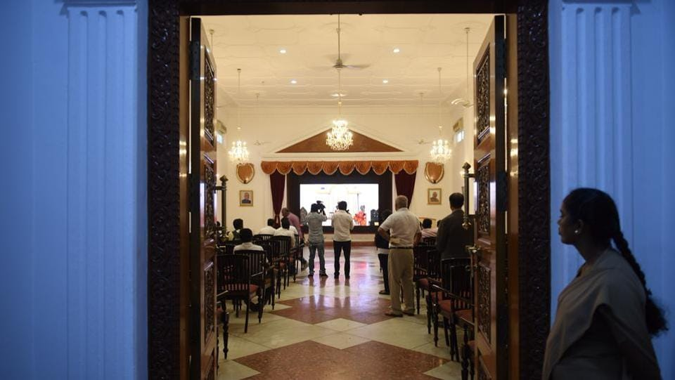 A group of media persons seen inside the Banquet hall. Classical 19th century bungalows were always single storeyed, though their height gave the impression of an upper floor. The Residency was also originally a single-storeyed building constructed in the British Colonial style which came to be known as the Residency style of architecture. (Arijit Sen / HT Photo)