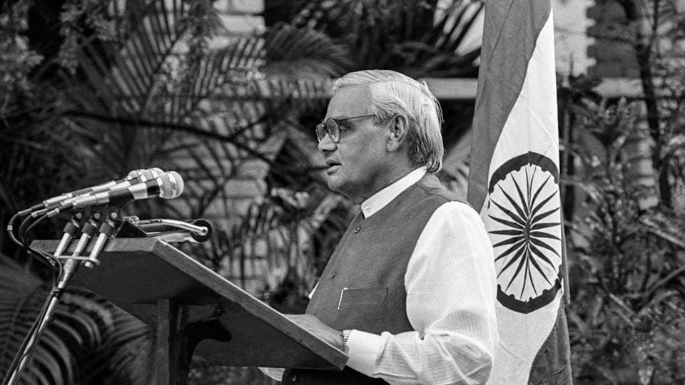 This May 11, 1998, file photo of former prime minister Atal Bihari Vajpayee as he announces India's nuclear test, in New Delhi.