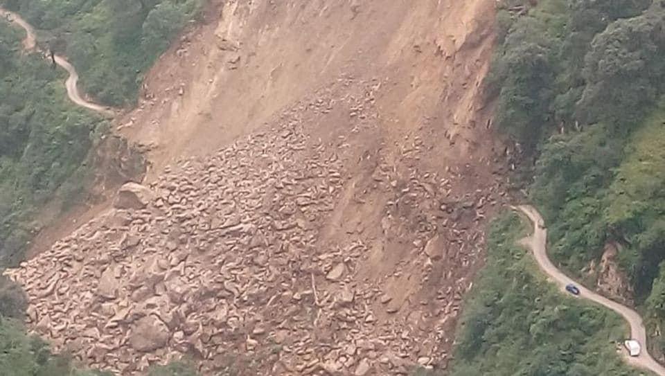 Massive landslide blocked the road at a village in Himachal Pradesh's Rampur on Saturday.