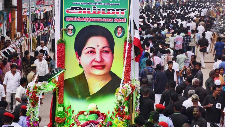 AIADMK cadres stage a 'silent rally' to observe the first death anniversary of J Jayalalithaa, at West Masi Street in Madurai.