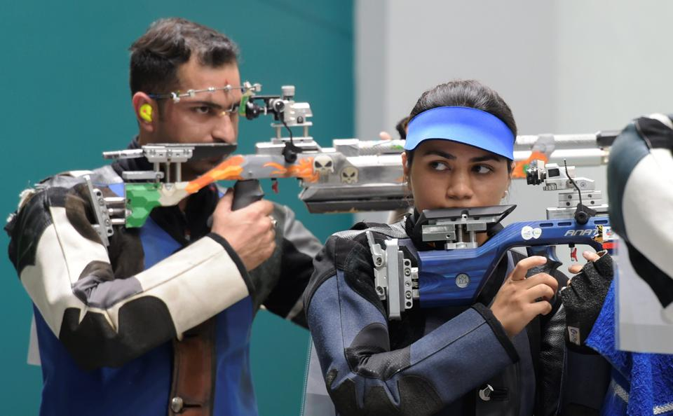 Palembang: Indian shooters Ravi Kumar and Apurvi Singh Chandela clinched Bronze in the Final of 10m Air Rifle Mix Team event during the 18th Asian Games Jakarta Palembang, in Indonesia on Sunday, Aug 19, 2018. (PTI)