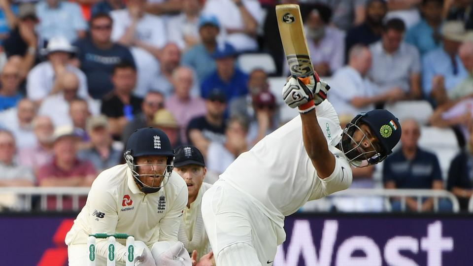 India's Rishabh Pant hits a six during the first day of the third Test cricket match between England and India. (AFP)