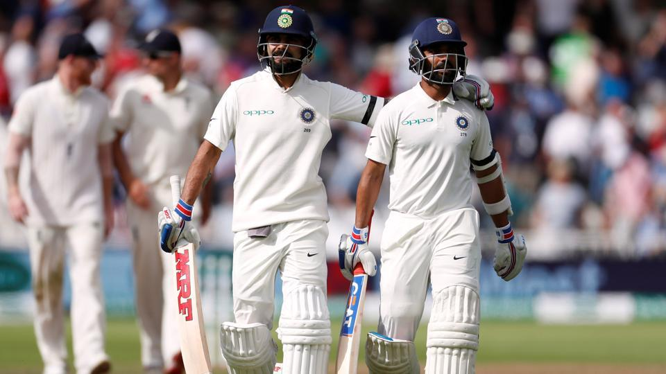 India's Virat Kohli and Ajinkya Rahane walk off the pitch for tea on Day 1 of the third Test match at Trent Bridge. (REUTERS)