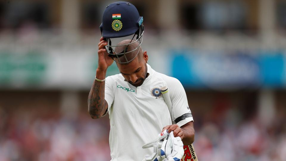 India's Shikhar Dhawan reacts after losing his wicket. (REUTERS)
