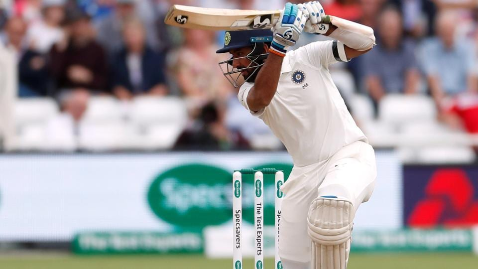 India's Cheteshwar Pujara in action on Day 1 at Trent Bridge. (REUTERS)