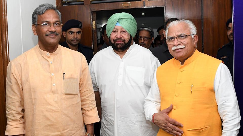 From left — Uttarakhand CM Trivendra Rawat, Punjab CM Captain Amarinder Singh and Haryana CM Manohar Lal Khattar during regional conference on drug menace held at Haryana Bhawan in Chandigarh on Monday.