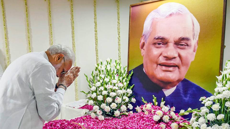 Prime Minister Narendra Modi pays tribute to former prime minister Atal Bihari Vajpayee at an all-party condolence meeting in New Delhi on  August 20.