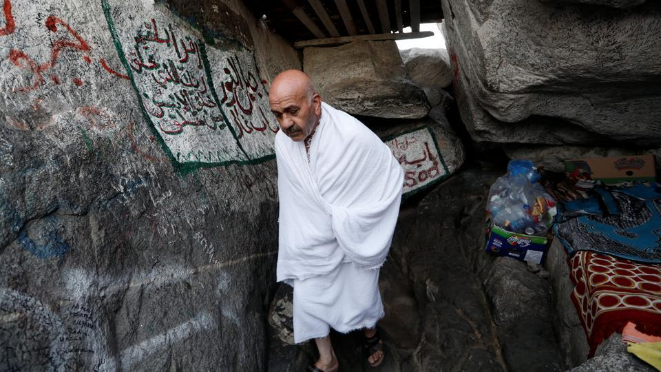 A Turkish pilgrim from Turkey visits the Mount Al-Noor. At the Hajj's end, male pilgrims will shave their hair and women will cut a lock of hair in a sign of renewal for completing the pilgrimage. Around the world, Muslims will mark the occasion with a celebration called Eid al-Adha. The holiday, remembering Ibrahim's willingness to sacrifice his son, sees Muslims slaughter sheep and cattle. (Zohra Bensemra / REUTERS)