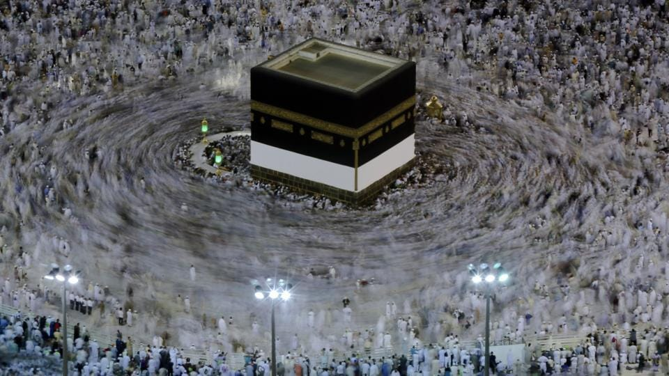 Muslim pilgrims circle the Kaaba as they pray at the Grand Mosque, ahead of the annual Hajj pilgrimage in the Muslim holy city of Mecca, Saudi Arabia, Thursday, August 16, 2018. The annual Islamic pilgrimage draws millions of visitors each year, making it the largest yearly gathering of people in the world. (Dar Yasin / AP)
