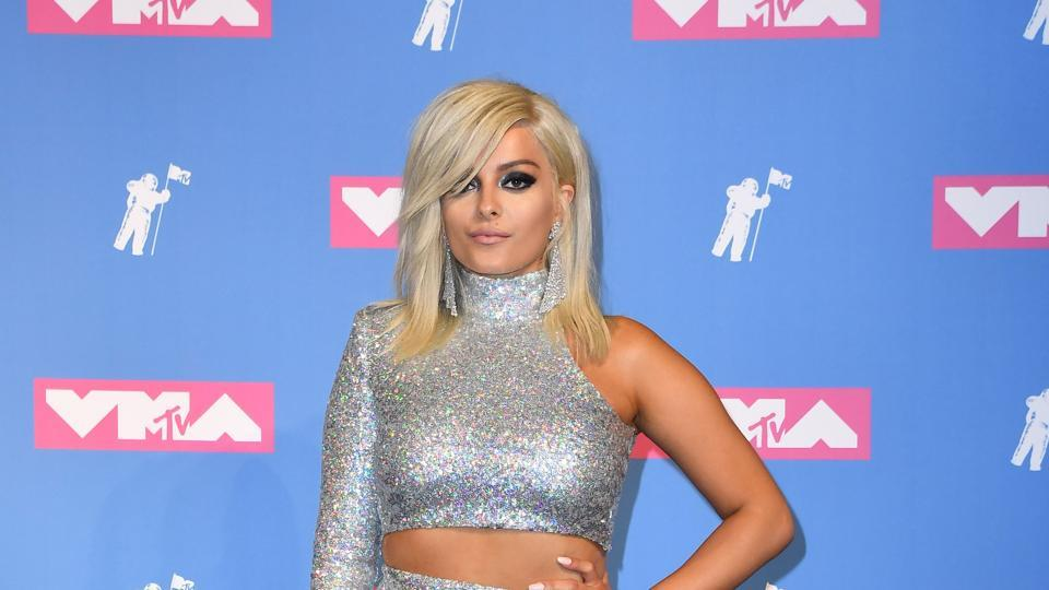 US singer Bebe Rexha went totally silver with this striking look of hers. (AFP)