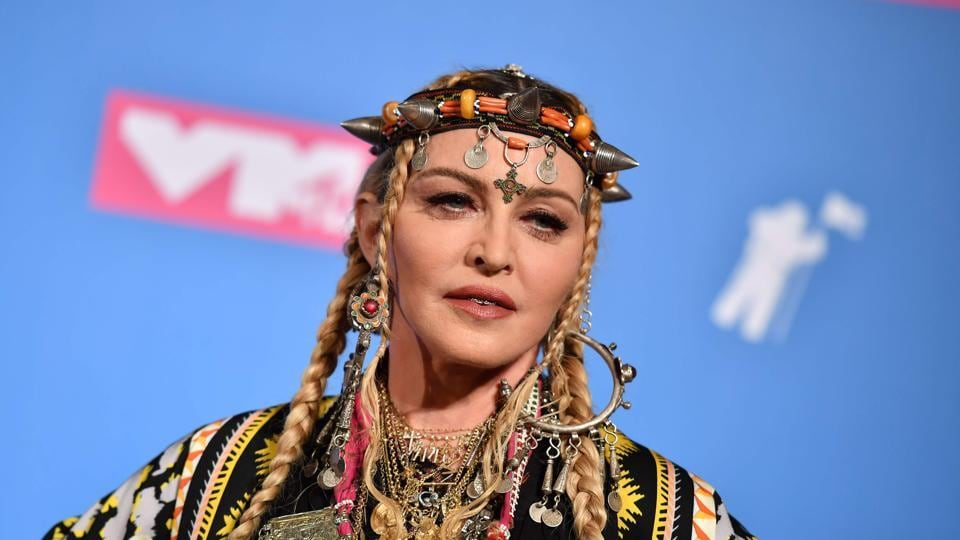 Madonna poses in the press room at the 2018 MTV Video Music Awards at Radio City Music Hall.