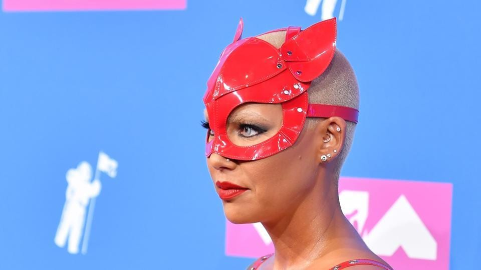 US model Amber Rose poses for the shutterbugs.  (AFP)