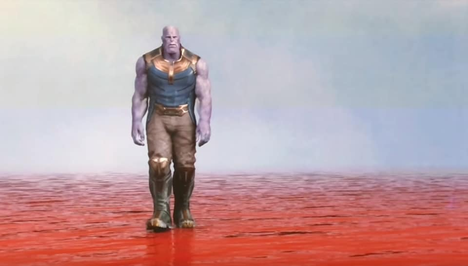 A screenshot of Thanos wading through a pool of blood in an Avengers: Infinity War concept video.