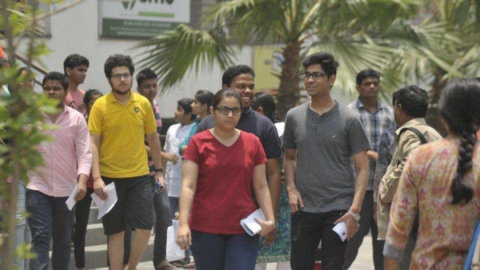 Students coming out of an exam centre in Lucknow after appearing for JEE-2018 exam.
