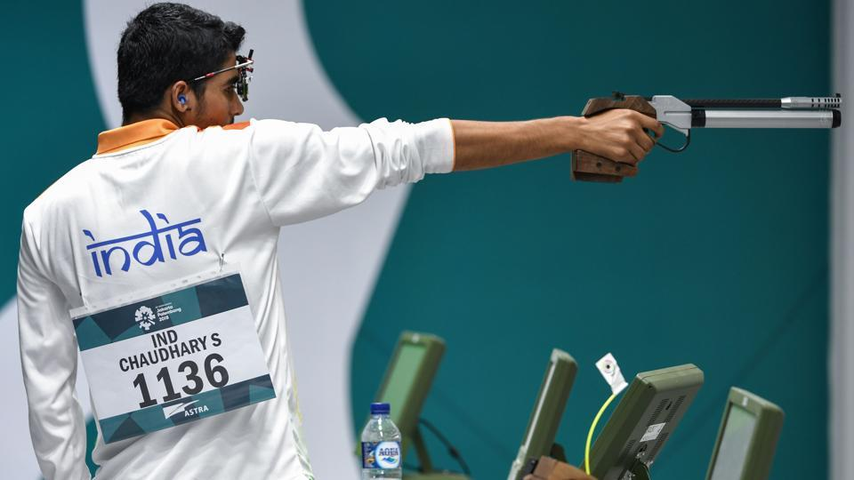 Saurabh Chaudhary competes in the men's 10m air pistol shooting final during the 2018 Asian Games in Palembang, Indonesia. He became the fifth Indian shooter to claim a gold in Asian Games history. Chaudhary aggregated 240.7 while the 42-year-old Matsuda from Japan misfired on the 23rd shot, an 8.9, to settle for silver. He scored 239.7. (Mohd Rasfan / AFP)