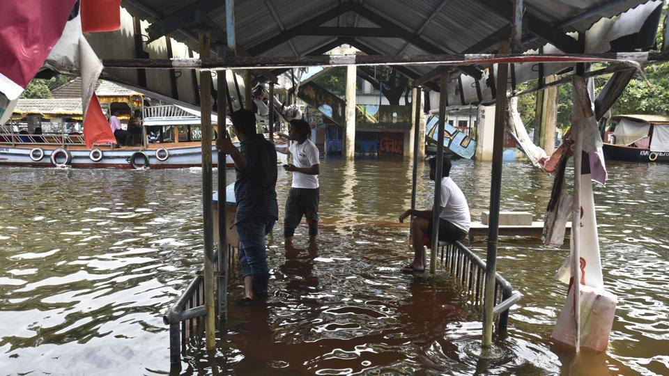 A view of the Lake Palace and its adjacent areas submerged under flood waters at Alappuzha district in Kerala, on Monday.