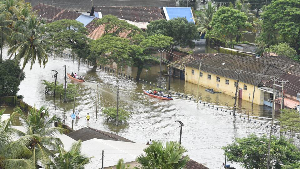 A view of submerged houses at Alappuzha district, in Kerala.