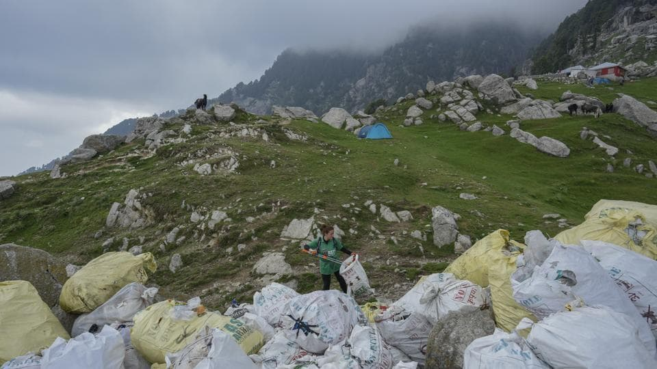 States, trekking companies and the trekking community are waking up to the challenge. In Triund, the Himachal Pradesh forest department conducted a raid in June and recovered alcohol and drugs. It now charges trekkers Rs 50 for going to Triund and keeps a tab on the number of plastic bottles they are carrying with them and how many they deposit at the forest checkpost while exiting. (Burhaan Kinu / HT Photo)