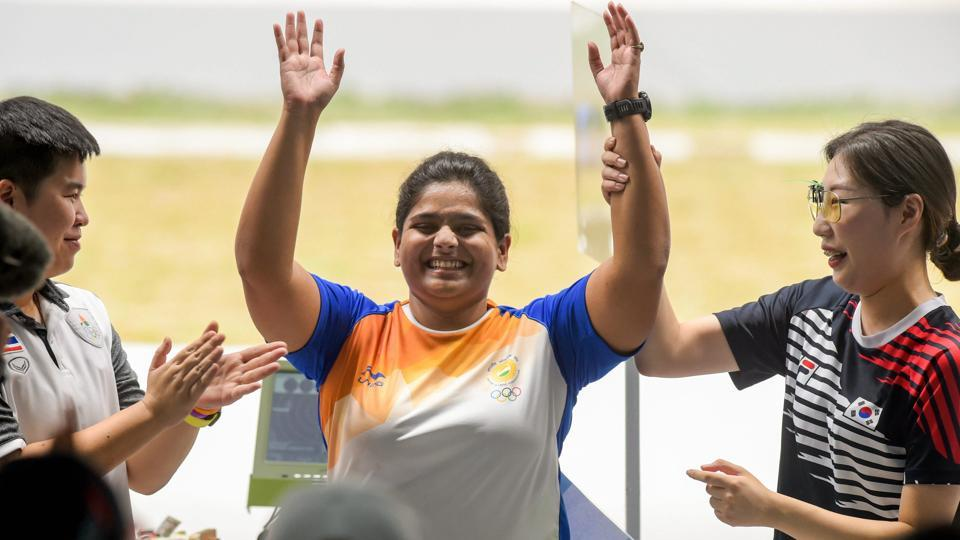 Gold medallist India's Rahi Sarnobat with Silver medallist Thailand's N Yangpaiboon (L) and Bronze medal winner Korea's Kim Minjung after the women's 25m pistol event during the 18th Asian Games at Palembang, in Indonesia. Sarnobat became the first Indian woman shooter to win an Asian Games gold medal. Ankita Raina and then Rohan Bopanna-Sharan Divij entered the semis and India have been assured of two more medals. (Vijay Verma / PTI)