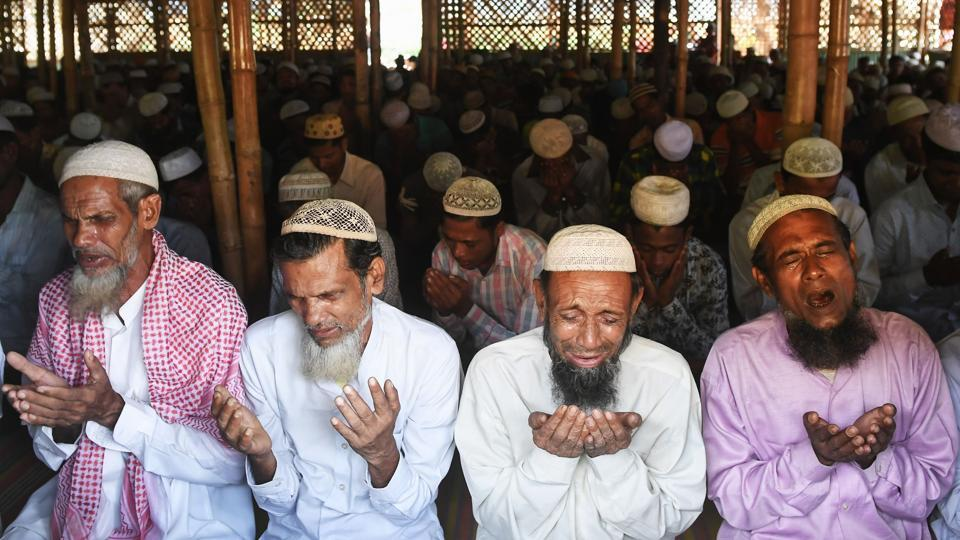 Rohingya refugees offer Eid al-Adha prayers at the Jamtoli refugee camp in Ukhia district near Cox's Bazar on August 22.