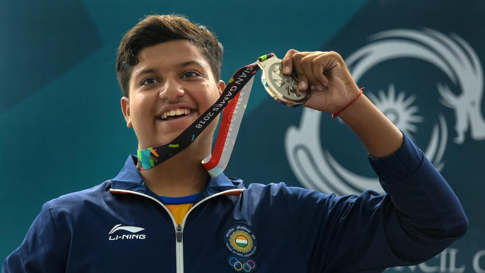 Indian shooter Shardul Vihan celebrates after winning the silver medal in Men's Double Trap event on Thursday.
