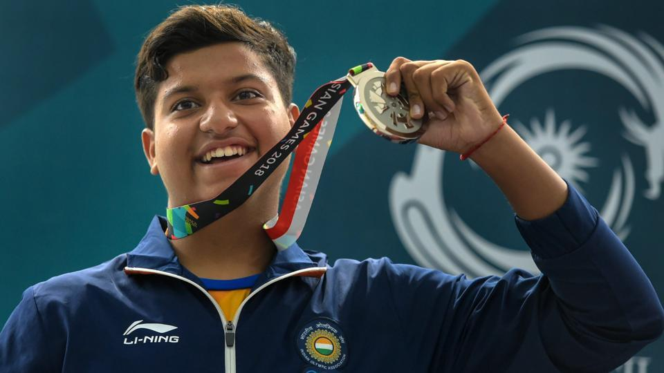 Indian shooter Shardul Vihan celebrates after winning silver medal in Men's Double Trap event. (PTI)