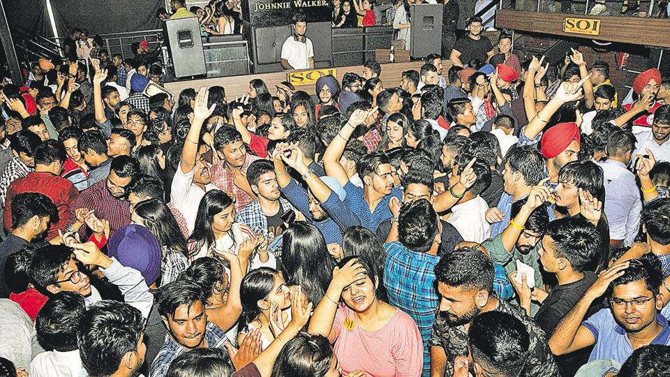 Freshers attending a party organised by the Student Organisation of India at a nightclub in the Industrial Area, Phase 1, Chandigarh on Wednesday.