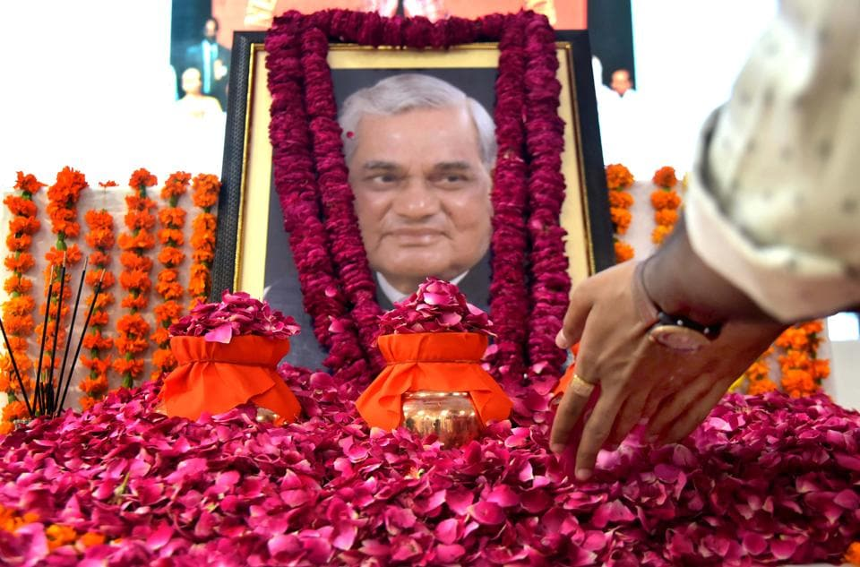 Former PM Atal Bihari Vajpayee in front of urns containing his ashes at BJP office on Wednesday, in Jaipur, Rajasthan, August 22, 2018