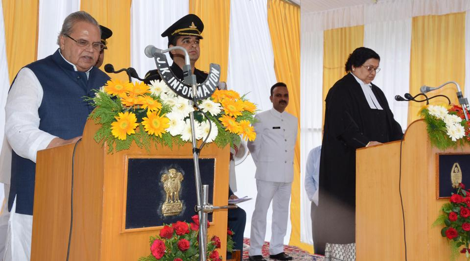 Satya Pal Malik being sworn in as the 13th Governor of Jammu and Kashmir