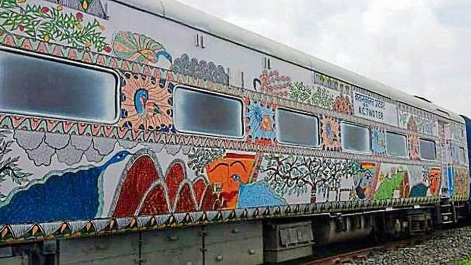 Bihar Sampark Kranti Express,Madhubani paintings on train,Darbhanga station'