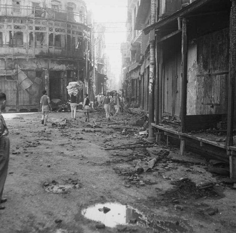 Wrecked buildings after communal riots in Amritsar, Punjab, in March 1947.