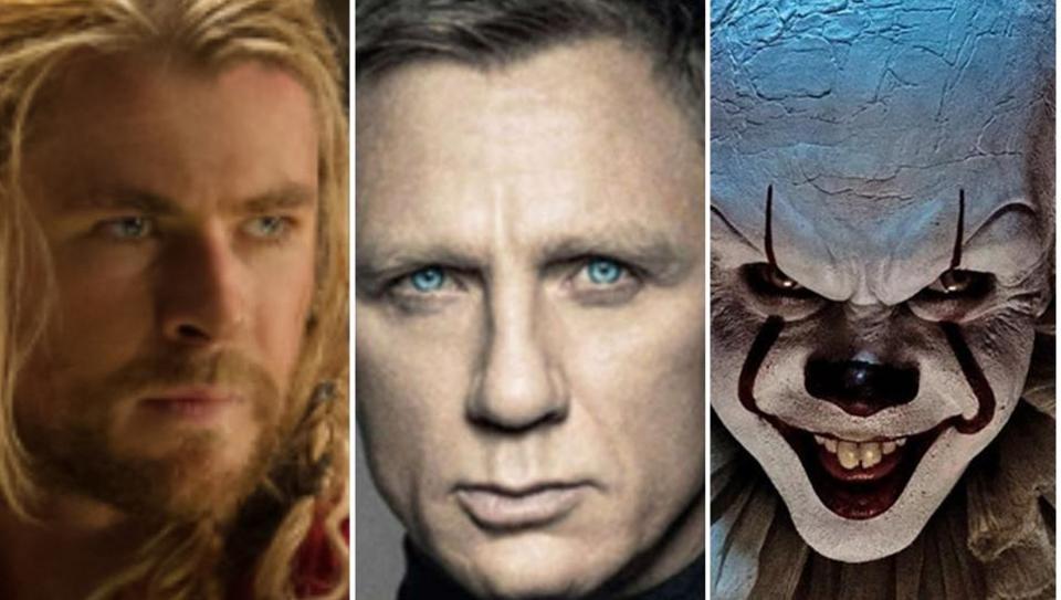 Chris Hemsworth, Daniel Craig and Bill Skarsgarg in stills from Thor: The Dark World, Skyfall and It.